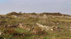 The ruins of the ancient Geto-Dacian settlement Dinogetia Stock Footage