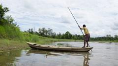 Nepali Boatman Reaching A River Bank Stock Footage