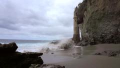 The Pirate Tower on Victoria Beach on a stormy day. Stock Footage