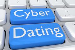 Cyber Dating concept - stock illustration