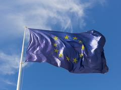 blue EU flag with stars - stock photo