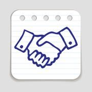 Doodle Shaking Hands icon Stock Illustration