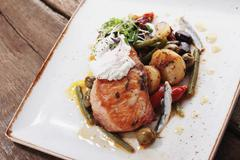 salmon fillet meal - stock photo
