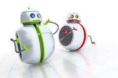 Stock Illustration of sweet little robots