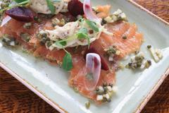 cured gravlax salmon - stock photo