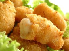 breaded scampi tails - stock photo