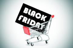 Signboard with the text black friday in a shopping cart, vignetted Stock Photos