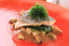 cooked fish meal - stock photo