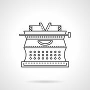 Flat line typewriter vector icon Stock Illustration