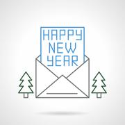 Happy New Year flat line vector icon - stock illustration