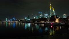 Night view of Frankfurt over the river Main. Stock Footage