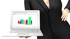 Stock Illustration of Business woman showing a laptop with a spreadsheet application
