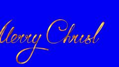 "Writing Golden Ribbon Text ""Merry Christmas"" On Blue Background. Stock Footage"