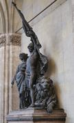 Sculpture at the Feldherrnhalle (Field Marshall's Hall) at Ludwig's Street in - stock photo