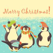 Funny penguins friends celebrating Christmas - stock illustration