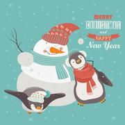 Funny penguins with snowman celebrating Christmas - stock illustration