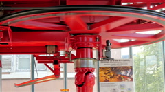 The red wheel that makes the cable cars move Stock Footage