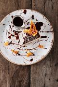 Plated chocolate torte dessert Stock Photos