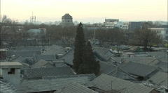 Beijing Bell Tower, hutong rooftops, China - stock footage