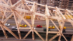 Aerial View of The Queensboro Bridge New York City  4k Stock Footage