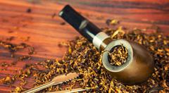 Stock Photo of Wooden Smoking Pipe Tobacco Cigarette