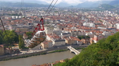 Buildings and houses seen from above the cable car Stock Footage