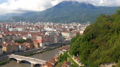 The city view of the urban city of Grenoble Stock Footage