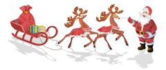 Santa Claus with sledge, deers and Christmas presents Stock Illustration