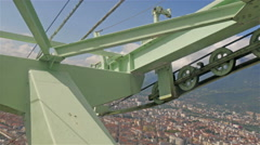 The metal rollers in the edge of the cable car Stock Footage