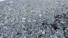 Arctic Landscape Taking Off Rocky Beach Over Ice Covered Green and Blue Water Arkistovideo