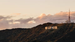 Hollywood Sign, Los Angeles, California at Sunset Golden Hour Timelapse Stock Footage