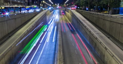Stock Video Footage of Night scene of urban traffic.Time Lapse - Trail effect - Long exposure