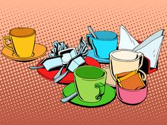 Coffee table with cups - stock illustration