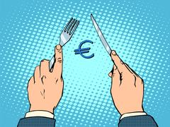 European Euro knife and fork financial concept - stock illustration
