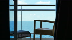 sea view from the balcony of a ship cabin - stock footage