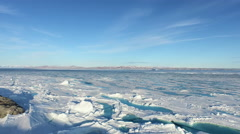 Arctic Landscape From Snow Covered Blue Water To Shore Blue Sky Mountains Arkistovideo
