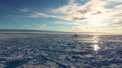 Arctic Landscape Ice Covered Blue Water Sandy Shore Blue Sky Stock Footage