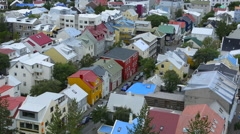 Reykjavik Iceland downtown houses from above in Hallgrims Church of colorful Stock Footage