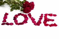 abstraction, inscription love from petals of roses and a bouquet of roses - stock photo