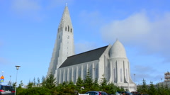 Stock Video Footage of  Arctic Hallgrimskirkja downtown tall church with steeple