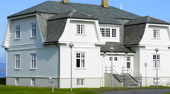 Reykjavik Iceland downtown Reagan Gorbachev House for Peace Summit on October Stock Footage