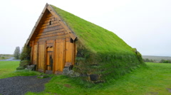 Stock Video Footage of Iceland Skalholt Luthern Church 1963 in Skalholt a turf church replica in South