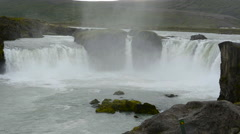 Iceland Godafoss waterfalls water falls in North Central Iceland on Ring Road Stock Footage
