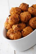mini falafel bhajis - stock photo