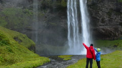 Iceland Seljalandsfoss Waterfalls famous water falls in South Iceland with 180 - stock footage