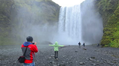 Iceland Skogafoss Waterfall famous falls in South Iceland at the Skoga River Stock Footage