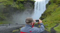Iceland Skogafoss Waterfall famous falls in South Iceland at the Skoga River - stock footage