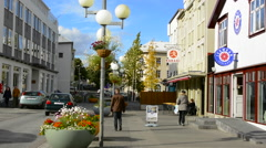 Iceland Akureyri downtown center second largest city walking street Stock Footage