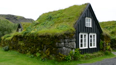 Iceland Skogasafn Turf Houses and church in South Iceland Skogar Museum museum Stock Footage