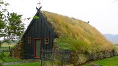 Iceland Vidimyrikirkia near Varmahlid in Northern Iceland Vidimyri Church turf - stock footage